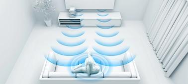 Gambar yang menampilkan gelombang suara dengan optimisasi ruang