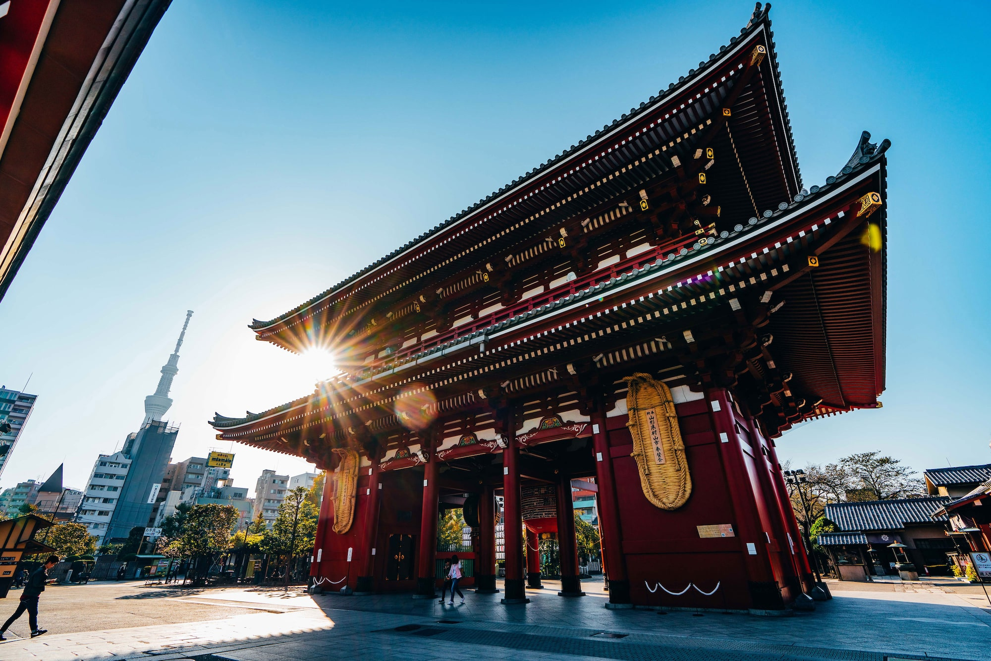Japanese temple entrance with grand archway