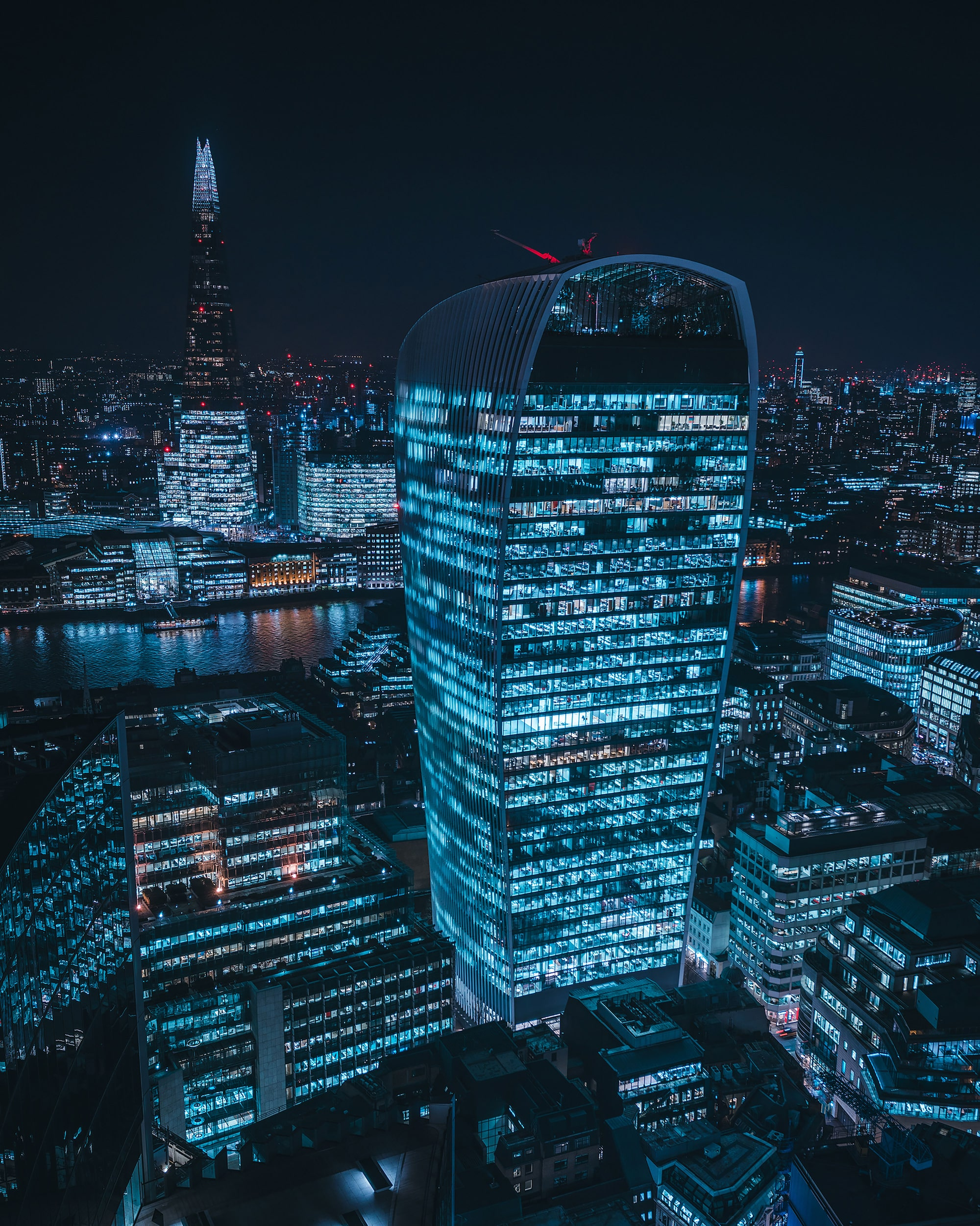 London nightscape of skyscrapers