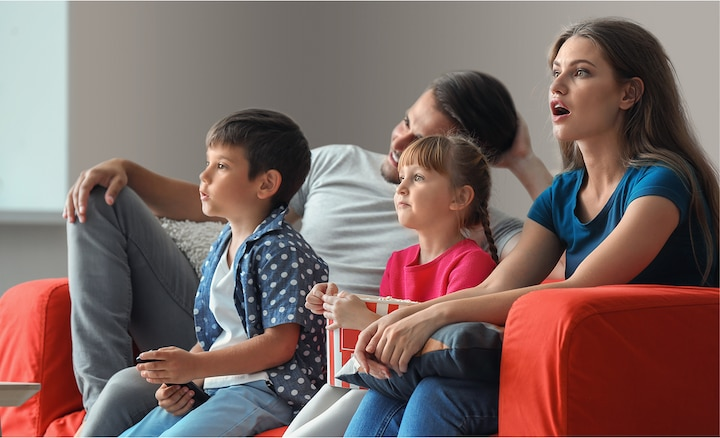 Family watching movies