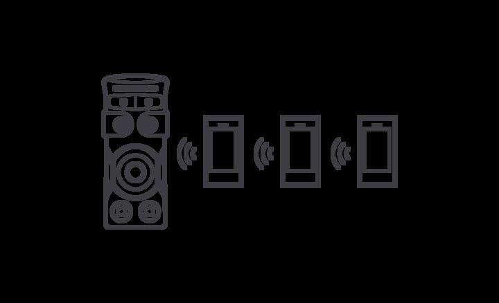 Tiga smartphone terhubung secara nirkabel dengan MHC-V71D