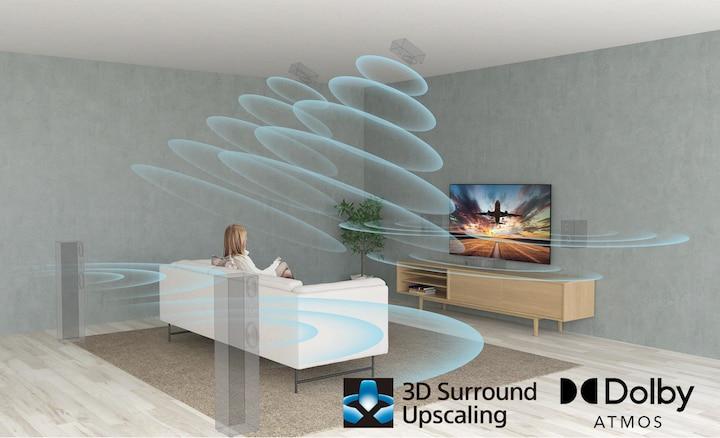 Suasana ruang duduk menampilkan efek suara surround dengan XR Surround